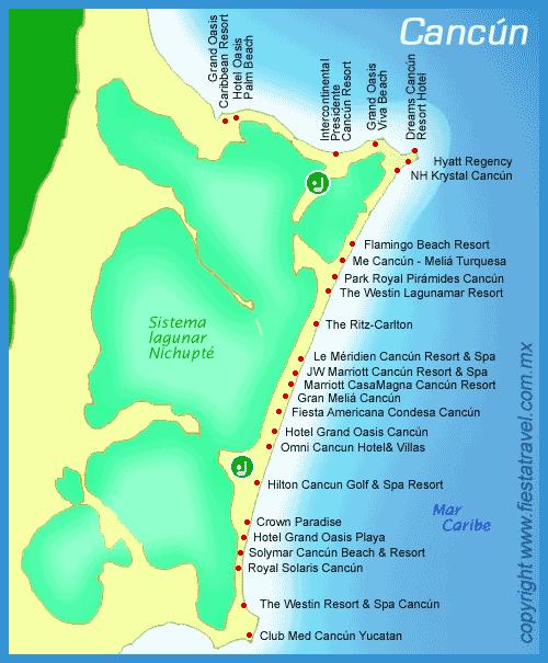 Hotel Karte Cancun
